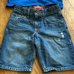 Boys jean shorts and shirt outfit